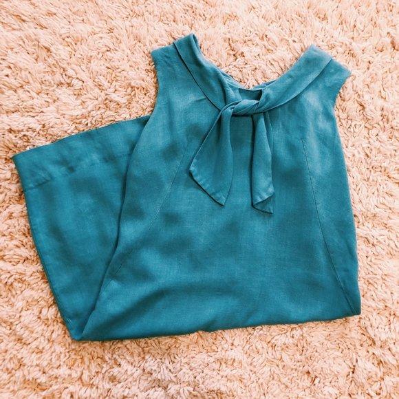 Vintage Dresses & Skirts - Vintage Handmade Sailor Style Cotton/Linen Dress